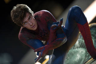 """Andrew Garfield is suited up for Spidey action in a scene from """"The Amazing Spider Man."""" COLUMBIA PICTURES PHOTO"""