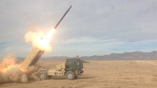 Soldiers from the Oklahoma National Guard's Battery A, 1st Battalion, 158th Field Artillery Regiment, 45th Fires Brigade, fires a rocket in January, destroying an enemy repeater tower. Photo provided -