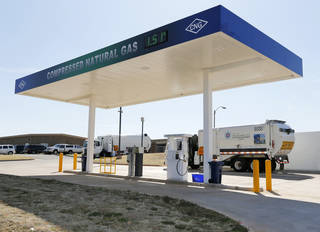 Two pumps are open to the public at the new CNG fueling station at Oklahoma City's Solid Waste Facility, 11501 N Portland. Photo by Nate Billings, The Oklahoman NATE BILLINGS - NATE BILLINGS