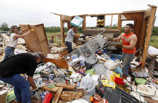 This is one of the homes destroyed in Carney, OK, Monday, May 20, 2013, by a tornado which struck the previous day. By Paul Hellstern, The Oklahoman