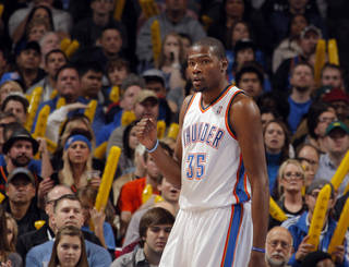 Oklahoma City Thunder's Kevin Durant (35) celebrates during the the NBA basketball game between the Oklahoma City Thunder and the San Antonio Spurs at the Chesapeake Energy Arena in Oklahoma City, Sunday, Jan. 8, 2012. Photo by Sarah Phipps, The Oklahoman