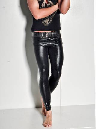 From deKata Couture, these faux leather meggings are a men's fashion trend this winter. Photo provided.