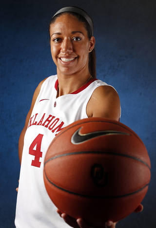 Nicole Griffin poses for photographs as the University of Oklahoma Sooners (OU) women's basketball team holds its media day at The Lloyd Noble Center on Friday, Oct. 25, 2013 in Norman, Okla. Photo by Steve Sisney, The Oklahoman