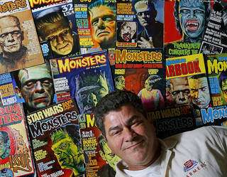 Eric Gesecus poses for a photo with copies of Monsters magazines inside his Piedmont, Okla., home on Thursday, October 17, 2013. Gesecus got the role of his dreams as Frankenstien in the movie Army of Frankensteins. Photo by Bryan Terry, The Oklahoman