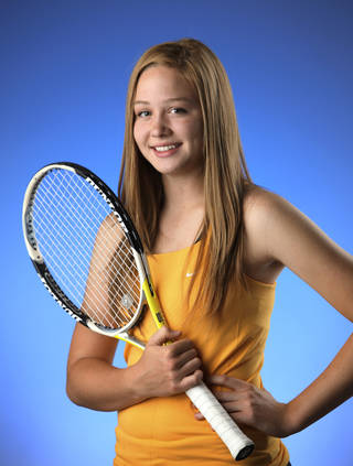 Heritage Hall's Julie Labarthe didn't lose a game in her four state matches. PHOTO BY JIM BECKEL, THE OKLAHOMAN