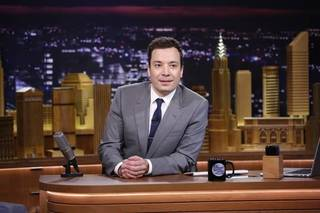 """FILE - In this Feb. 17, 2014 file photo provided by NBC, Jimmy Fallon appears during his """"The Tonight Show"""" debut, in New York. Fallon is visiting the Sunshine State for his first TV trip since taking over """"The Tonight Show."""" The NBC show originates this week from the Universal Orlando Resort, where Fallon and company will tape editions to air this Monday, June 16, 2014, through Thursday. (AP Photo/NBC, Lloyd Bishop, File)"""