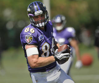 Baltimore Ravens wide receiver Billy Bajema runs a drill during NFL football training camp at the team's practice facility in Owings Mills, Md., Monday, July 29, 2013. (AP Photo/Gail Burton) ORG XMIT: OTKS110