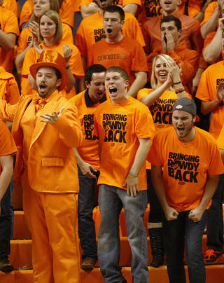 OSU fans cheer during a men's college basketball game between Oklahoma State University (OSU) and Gonzaga at Gallagher-Iba Arena in Stillwater, Okla., Monday, Dec. 31, 2012. Photo by Nate Billings, The Oklahoman