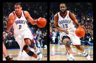 Thunder shooting guards Thabo Sefolosha, left, and James Harden, right, each bring a different skill set to the table. OKLAHOMAN ARCHIVE PHOTOS