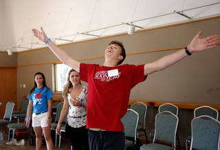 Jeremiah Gentle of Tulsa participates in an acting class exercise during the Oklahoma Summer Arts Institute at Quartz Mountain Arts and Conference Center near Lone Wolf on Monday, June 17, 2013. PHOTO BY SARAH PHIPPS, The Oklahoman SARAH PHIPPS