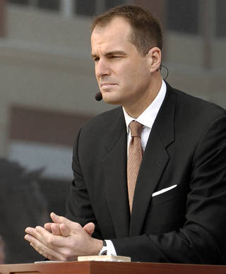 Oklahoma State University's men's basketball team (OSU) plays Texas on Saturday March 5, 2005 Gallagher-Iba Arena in Stillwater, OK. Jay Bilas of ESPN GameDay speaks during the show in front of Gallagher-Iba. (Oklahoman staff photo by Steve Sisney)