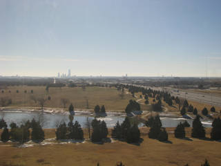 Looking southwest toward downtown Oklahoma City from The Oklahoman building near Britton Road and Broadway Extension.