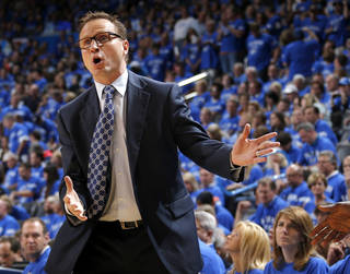 Oklahoma City coach Scot Brooks reacts after a call during Game 3 of the Western Conference Finals in the NBA playoffs between the Oklahoma City Thunder and the San Antonio Spurs at Chesapeake Energy Arena in Oklahoma City, Sunday, May 25, 2014. Photo by Bryan Terry, The Oklahoman