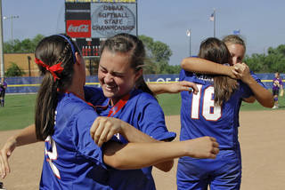 Members of the Ft. Cobb softball team Cheyenne Pierce, left, and Mikayla Sebastian celebrate their win over Roff during the Class 2A state championship softball tournament at ASA Hall of Fame Stadium on Wednesday, May 2, 2012, in Oklahoma City, Oklahoma. Photo by Chris Landsberger, The Oklahoman