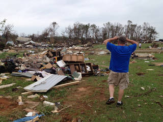 Damage in Bethel Acres Monday - Photo by Jim Beckel