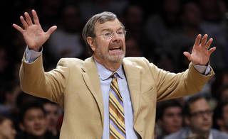 Brooklyn Nets interim coach P.J. Carlesimo calls out to his team during the first half of an NBA basketball game against the Cleveland Cavaliers on Saturday, Dec. 29, 2012, in New York. The Nets won 103-100. (AP Photo/Frank Franklin II) ORG XMIT: NYFF113