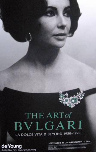 """""""The Art of Bulgari, La Dolce Vita and Beyond, 1950-1990"""" is on exhibit at the deYoung Museum in San Francisco's Golden Gate Park until Feb. 12, 2014. Photo courtesy of Patricia Arrigoni."""