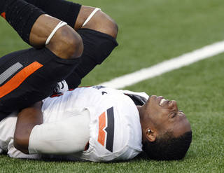 Oklahoma State cornerback Justin Gilbert suffered a shoulder injury in this past Saturday's victory against Texas. AP Photo