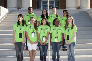 Among students from the Oklahoma City metro attending Tech Trek were, front row, from left, Maria Messick, Shawnee, Morgan Mitchell, Tuttle, Yvonne Garcia, Oklahoma City, Ambre? Bradley, Oklahoma City and Ashley Irby, Shawnee. Back row, from left, Patience Ogunbase, Oklahoma City, Katelyn Cejka, Shawnee, Kylie Dowers, Edmond and Jennifer Garcia, Oklahoma City. PHOTO PROVIDED BY SWOSU.