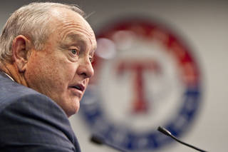 Texas Rangers CEO and President Nolan Ryan speaks to reporters during a press conference to announce the signing of Japanese pitching sensation Yu Darvish, Wednesday, Jan. 18, 2012, in Arlington, Texas. Japan's best pitcher and the Texas Rangers agreed before Wednesday's deadline to a $60 million, six-year contract. In addition to the salary, the Rangers will pay a posting fee of about $51.7 million to pay to the Hokkaido Nippon Ham Fighters of Japan's Pacific League. (AP Photo/Brandon Wade) ORG XMIT: TXBW117