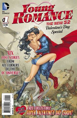 "The cover to DC Comics' ""Young Romance"" special, featuring Superman and Wonder Woman. DC Comics."