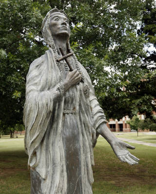 St. Kateri Tekakwitha, the Roman Catholic Church's first American Indian saint, is commemorated with a statue on the grounds of St. Gregory's Abbey in Shawnee. PAUL HELLSTERN - Oklahoman