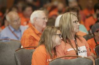 Grandparent University participants listen to a speaker during an opening ceremony. Image from University Marketing/Oklahoma State University