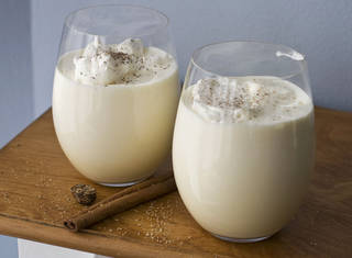 Two glasses of double whipped eggnog are shown. AP Photo Matthew Mead - AP