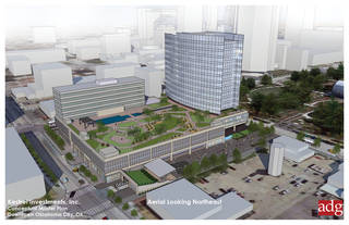 Clayco, which is assisting in the development of the new headquarters for OGE Energy Corp., is seeking to redevelop the south half of the block, as shown in the bottom half of this drawing. A modeling depiction of the headquarters itself is shown in the top half of this drawing. Drawing provided