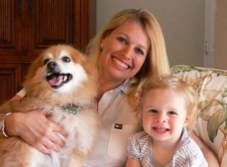 Stephanie David, 40, and daughter Skylar, 1, were reunited with their dog Pumpkin on Tuesday. Pumpkin had been kidnapped and held for ransom. Photo provided.