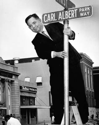 A street name change in Mc Alester brings a smile to U.S. Rep. Carl Albert in 1964. OKLAHOMAN ARCHIVES - THE OKLAHOMAN ARCHIVES