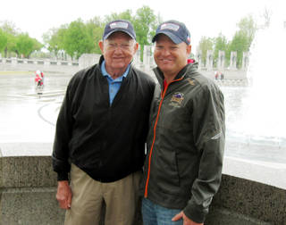 Bill Pummill, left, and grandson Lowell Armstrong at the World War II Memorial in Washington D.C. Chris Casteel - Chris Casteel, The Oklahoman