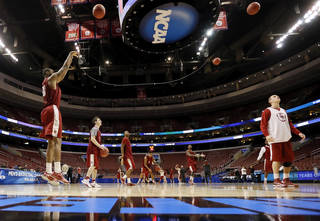 The Oklahoma Sooners shoot the ball during the practice and press conference day for the second round of the NCAA men's college basketball tournament at the Wells Fargo Center in Philadelphia, Thursday, March 21, 2013. OU will play San Diego State in the second round on Friday. Photo by Nate Billings, The Oklahoman