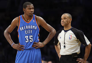 Oklahoma City's Kevin Durant (35) reacts during Game 4 in the second round of the NBA basketball playoffs between the L.A. Lakers and the Oklahoma City Thunder at the Staples Center in Los Angeles, Saturday, May 19, 2012. Photo by Nate Billings, The Oklahoman