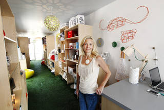 Sunshine Campbell, store partner, inside Perch'd, 14 NW 9 Street, in Oklahoma City Thursday, Aug. 15, 2013. Perch'd is a gift shop inside a converted shipping container. Photo by Paul B. Southerland, The Oklahoman