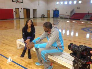 "Tulsa Shock guard Skylar Diggins interviewed Thunder star Kevin Durant for the 5 p.m. Wednesday edition of ESPN's ""SportsCenter."" ESPN photo"