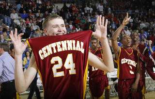 Centennial's Nicholas Burnett (24) reacts after the win during the 3A boys State Basketball Championship game between Victory Christian High School and Centennial High School at State Fair Arena on Saturday, March 10, 2012 in Oklahoma City, Okla. Photo by Chris Landsberger, The Oklahoman