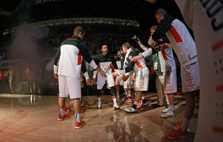 Oklahoma State's Markel Brown is introduced before an NCAA college basketball game between Oklahoma State University (OSU) and TCU at Gallagher-Iba Arena in Stillwater, Okla., Wednesday, Jan. 15, 2014. Oklahoma State won 82-50. Photo by Bryan Terry, The Oklahoman