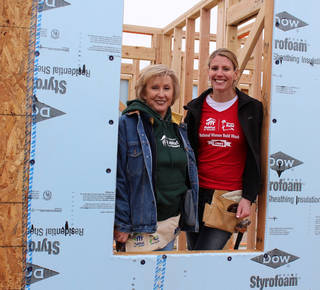 Central Oklahoma Habitat for Humanity Women Build Chair Carolyn Roberts, left, and Honorary Chair Cindy Lankford helped kick off the 12th annual Women Build. PHOTO PROVIDED