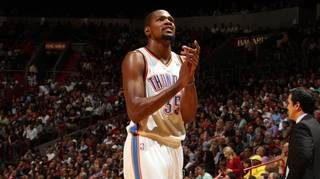MIAMI, FL - JANUARY 29: Kevin Durant #35 of the Oklahoma City Thunder looks on against the Miami Heat at the American Airlines Arena in Miami, Florida on Jan. 29, 2014. NOTE TO USER: User expressly acknowledges and agrees that, by downloading and/or using this photograph, user is consenting to the terms and conditions of the Getty Images License Agreement. Mandatory copyright notice: Copyright NBAE 2014 (Photo by Issac Baldizon/NBAE via Getty Images)