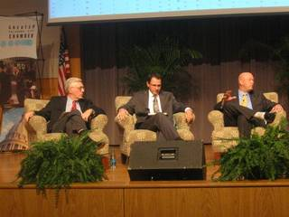 """Economists Robert Dauffenbach, of the University of Oklahoma; Russell Evans, of Oklahoma City University; and Mickey Hepner, of the University of Central Oklahoma, participate in a panel discussion during the Greater Oklahoma City Chamber's """"State of the Economy"""" event on Wednesday. Photo by DON MECOY, THE OKLAHOMAN"""