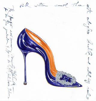 Manolo Blahnik Hangisi jeweled satin pump in blue. Photo provided by Balliets