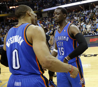 Oklahoma City's Reggie Jackson (15) becomes emotional as Oklahoma City's Russell Westbrook (0) approaches him after Game 4 in the first round of the NBA playoffs between the Oklahoma City Thunder and the Memphis Grizzlies at FedExForum in Memphis, Tenn., Saturday, April 26, 2014. PHOTO BY BRYAN TERRY, The Oklahoman