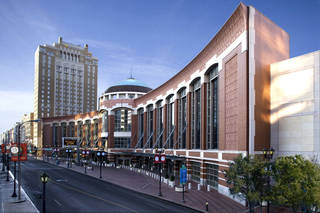 The St. Louis Renaissance Hotel, to the left of the St. Louis Convention Center, was opened in 2002 and has seen occupancy hover at under 50 percent. The hotel was taken over by bond holders in 2009. Photo provided by St. Louis Convention & Visitors Commission