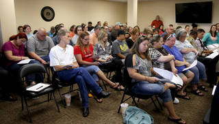 A crowd gathers Thursday for a Crooked Oak school board meeting where citizens expressed their concerns with two of the school board members lack of attendance to meetings in Oklahoma City. Photo by Bryan Terry, The Oklahoman BRYAN TERRY -