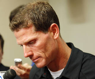 Brent Venables, associate head coach and defensive coordinator of the OU Sooners football team, pauses while discussing the death of player Austin Box, during a media conference at the University of Oklahoma in Norman, Okla., Thursday, May 19, 2011. Photo by Nate Billings, The Oklahoman ORG XMIT: KOD