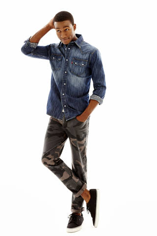 Levi denim pearl-snap shirt, Arizona camouflage five-pocket pant, Vans Bishop lace-up, all sold at J.C. Penney. Photo provided.