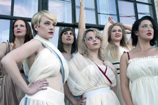 "The cast of Reduxion Theatre Company's ""Lysistrata"" includes, from left, Denise Hughes as Lampito; Mariah Webb, Myrrhina; Erin Woods, Lysistrata; Tori Goss, chorus; Jessa Schinske, Kalonike; and Lydia McBee Reed, chorus. Photo provided"