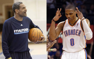 Former Thunder assistant Maurice Cheeks, left, has been key to the development of point guard Russell Westbrook. PHOTOS FROM THE OKLAHOMAN ARCHIVES