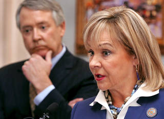 Gov. Mary Fallin explains why she vetoed a measure that would have relaxed state reading standards for third-graders. PHOTO BY JIM BECKEL, THE OKLAHOMAN